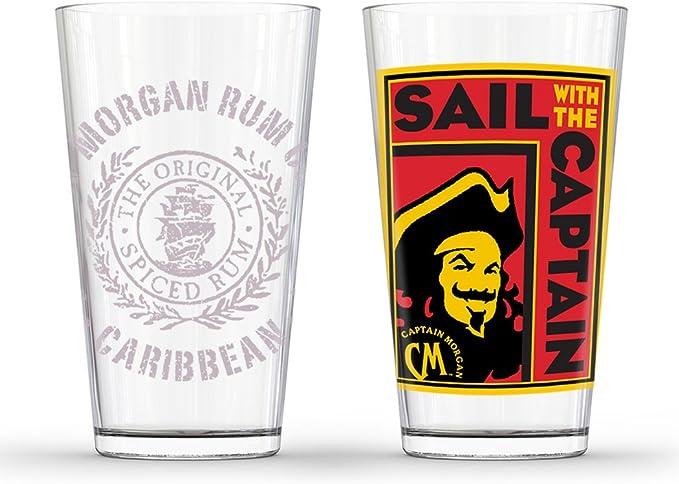 Amazon Com Captain Morgan Poster Pub Glass Set Of 2 Clear Mixed Drinkware Sets