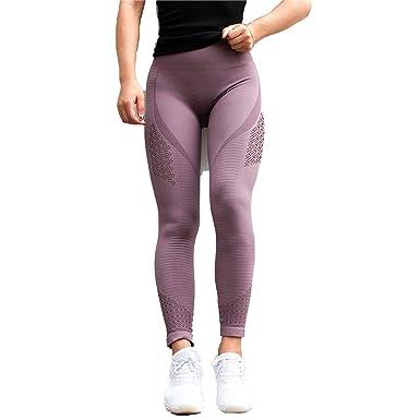 3887f81daa Amazon.com: Super Stretchy Women Gym Tights Energy Seamless Tummy Control Yoga  Pants High Waist Sport Leggings Purple Running Pants,Dark Purple,M: Clothing