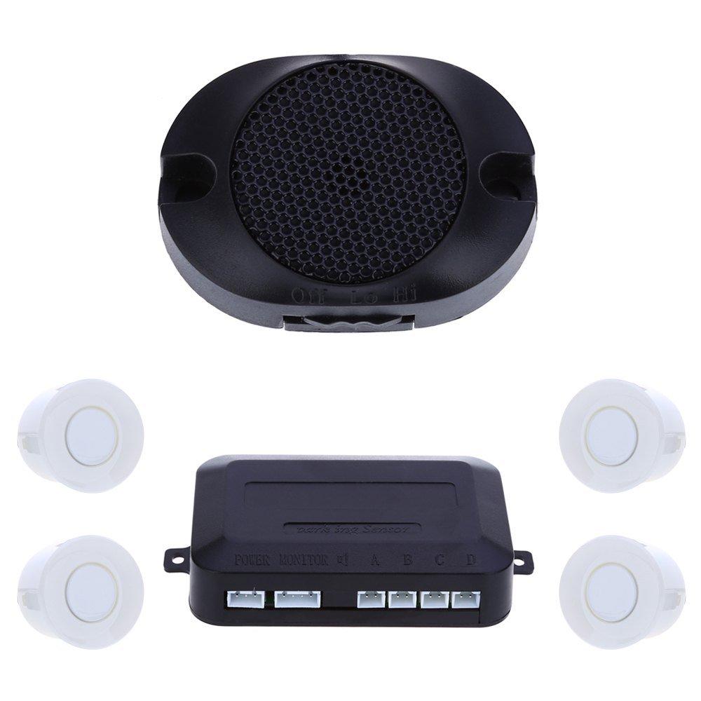 4センサー車駐車場オートリア逆支援バックアップレーダーブザー公園アラーム監視システム ホワイト 178634201 B01HL5IUAS  ホワイト