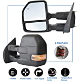 JZSUPER Towing Mirrors for Ford F150 Pickup Truck 2015 2016 2017 Power Heated with Turn Signal Light - 8 Pin Plug Black…