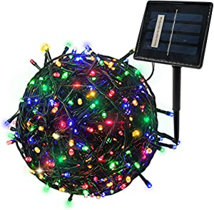 YASENN String Lights Solar Powered 200 LED 66Ft 8 Lighting Modes Outdoor String Lights Solar Fairy Lights for Garden,Patio,Fence,Holiday,Decorations (Multicolor)