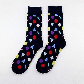 SIKESONG Gracioso Algodón Code Man En El Cilindro Calcetines Happy Socks Patrón Geométrico (5 Pares