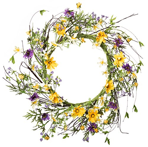 Welcome Spring, Summer & Fall Seasons Decor Artificial Wreath, Thanksgiving Bouquet - Yellow & Purple Flower Floral Petals & Green Leaves for Front Door, Wall, Hallway & Entryway - 20-22 ()