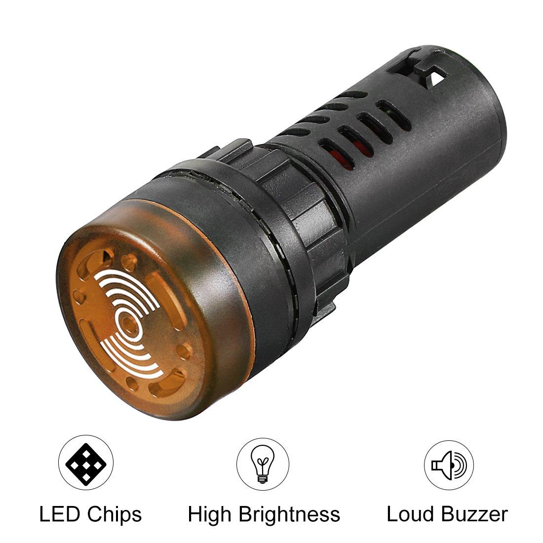 sourcing map luce pilota AC 220V Indicatore pannello allarme lampeggiante con segnale acustico LED rosso 2pz.