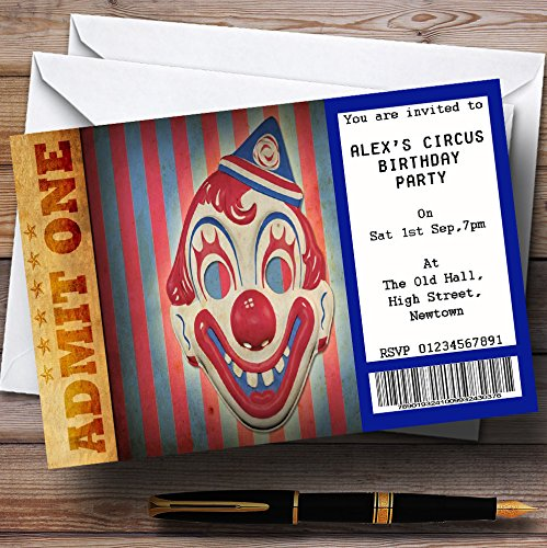 Spoof Circus Clown Ticket Theme Personalized Birthday Party Invitations