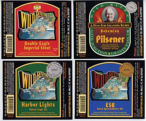 Set of Wild River Brewing Grants Pass Oregon Brewery Bottle Labels