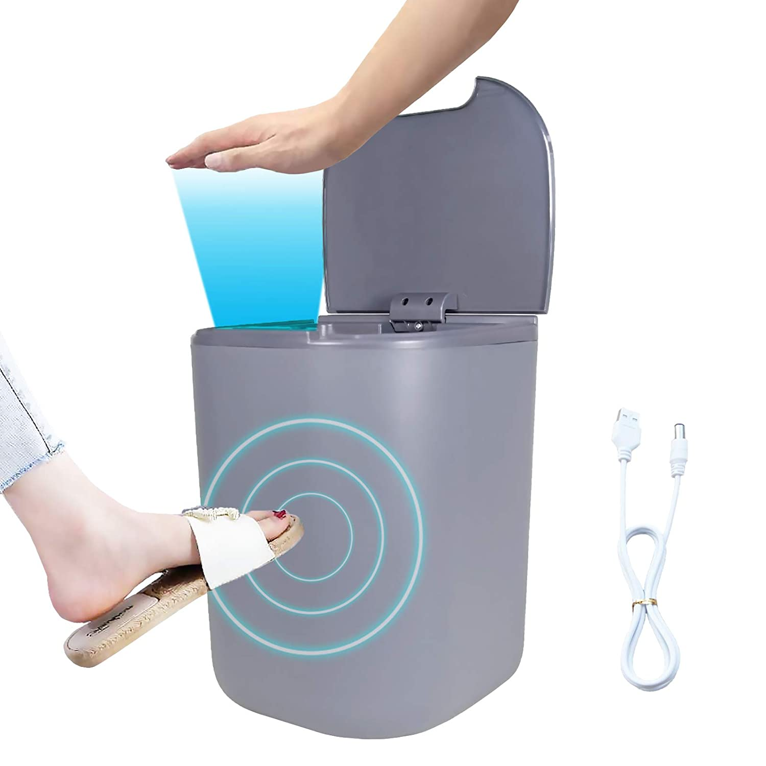 Electric Touchless Garbage Can with Automatic Open Close Lid,Infrared Motion Sensor,USB Rechargeable Smart Small Waste Basket Bin Medium Plastic Trash Container for Kitchen Office Home,4.5 Gallon