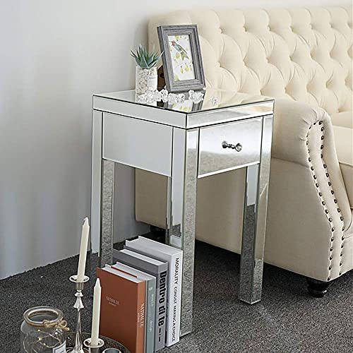 MTFY Mirrored Nightstand End Tables Bedside Table,Mirrored Accent Table,Smooth Mirror Finish with Crystal-Style Knobs for Bedroom, Living Room, Silver