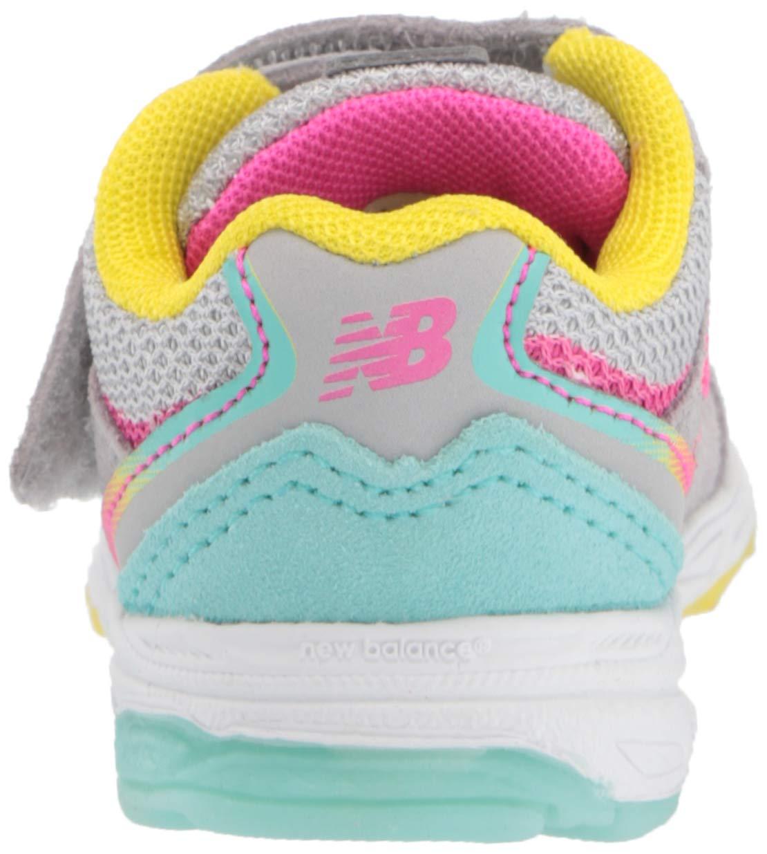 New Balance Girls' 888v2 Hook and Loop Running Shoe, Grey/Rainbow, 2 W US Infant by New Balance (Image #2)