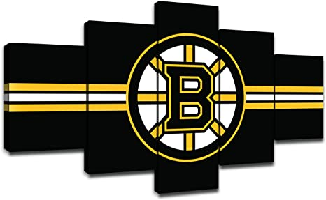 Boston Bruins Wall Decor Nhl Team Logo Art Paintings 5 Piece Canvas Picture Ice Hockey Artwork Living Room Prints Poster Home Decoration Wooden Framed Ready To Hang 60 Wx32 H Amazon Ca Home Kitchen