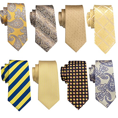 Barry.Wang+Yellow+Ties+Set+Paisley+Neckties+Stripe+Tie+Formal+Necktie+Wedding+Business+Party