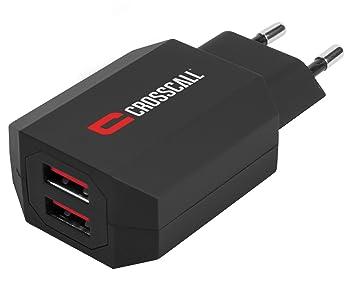 Crosscall CS2.PE.NR0EU - Cargador universal Dual-USB, color rojo y negro