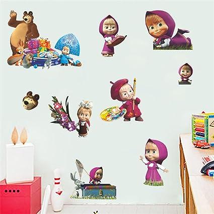 Fangeplustm Diy Removable Masha And Bear Russia Cartoon Art Mural Vinyl Waterproof Wall Stickers Kids Room Decor Nursery Decal Sticker Wallpaper