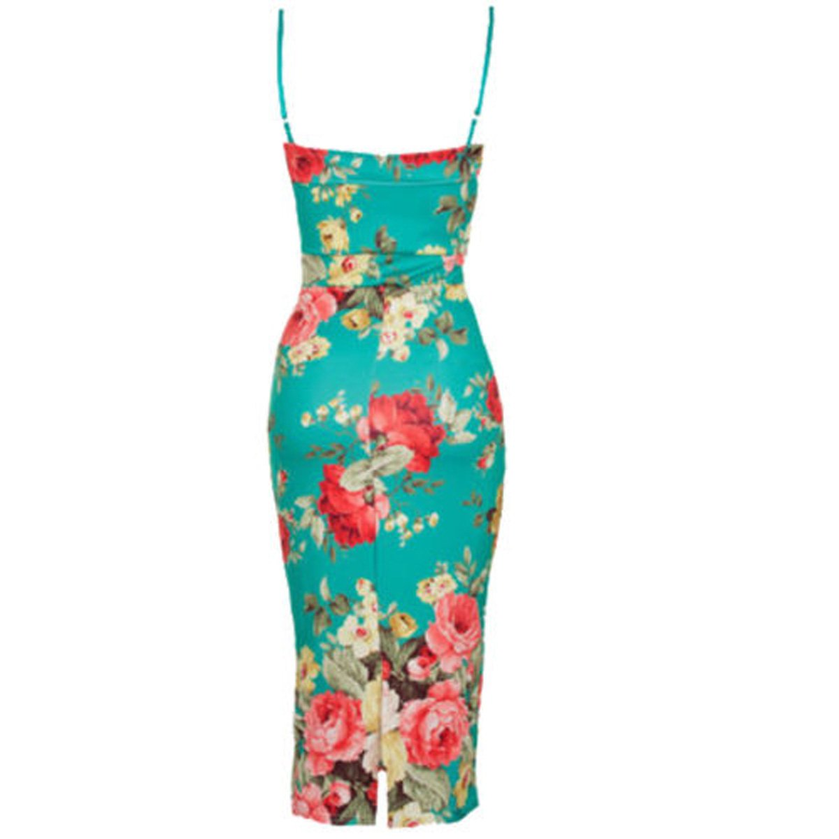NEW ExDebenhams 8 10 Bardot Floral Rose Print Frill Bodycon Midi Dress Red White