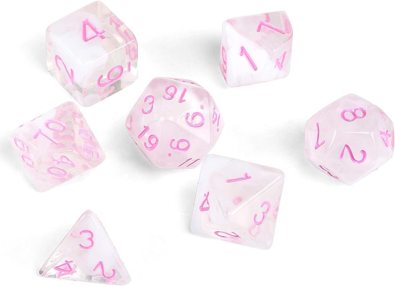 GWHOLE 7 Piezas Dados Poliédricos Dados para Juegos de rol y Mesa Dungeons y Dragons DND RPG MTG con Bolsa Negra (Transparente Rosa)