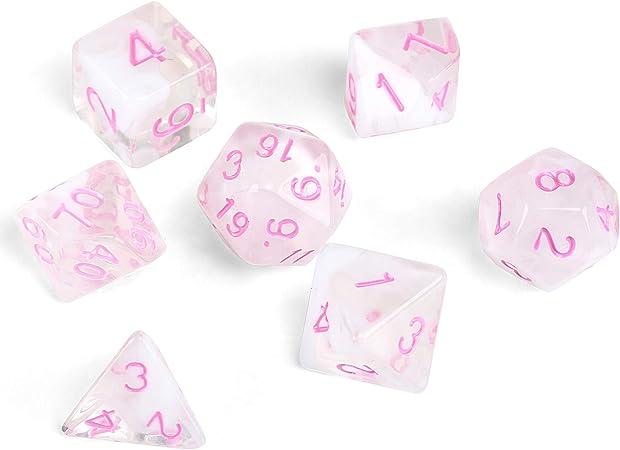 GWHOLE 7 Piezas Dados Poliédricos Dados para Juegos de rol y Mesa Dungeons y Dragons DND RPG MTG con Bolsa Negra (Transparente Rosa): Amazon.es: Juguetes y juegos