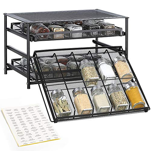 NEX Spice Rack 3 Tier 30-Bottle Spice drawer Organizer for Pantry Kitchen Cabinet, Painting ()