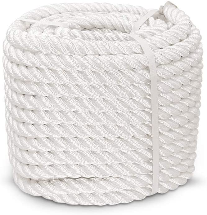 White Pull Rope Cord Aoneky 1//2 5//8 3//4 7//8 inch Nylon Twisted Rope 3//4 inch x 100 ft
