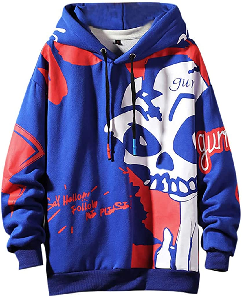 by URIBAKE Mens Skull Hoodies Long Sleeve Baggy Hooded Sweatshirts Youths Trendy Hip-Hop Pullover M-5XL