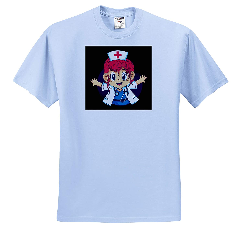 3dRose Sven Herkenrath Anime Adult T-Shirt XL ts/_316084 Anime Manga Girl as a Nurse Funny Character
