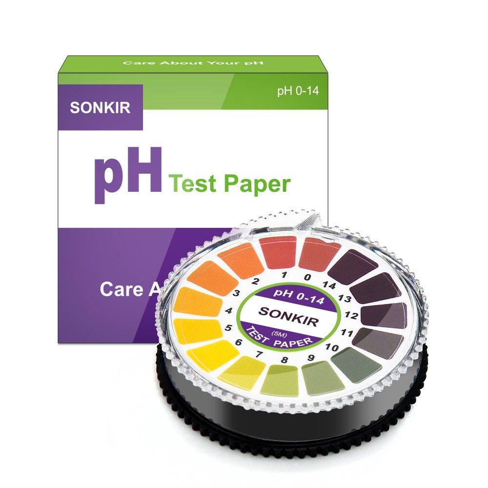 Sonkir pH Test Strips, Test pH Level for Acidic Alkaline, Professional Universal pH Strips Litmus Paper Roll, Full pH Range of 0-14 (16.4ft)