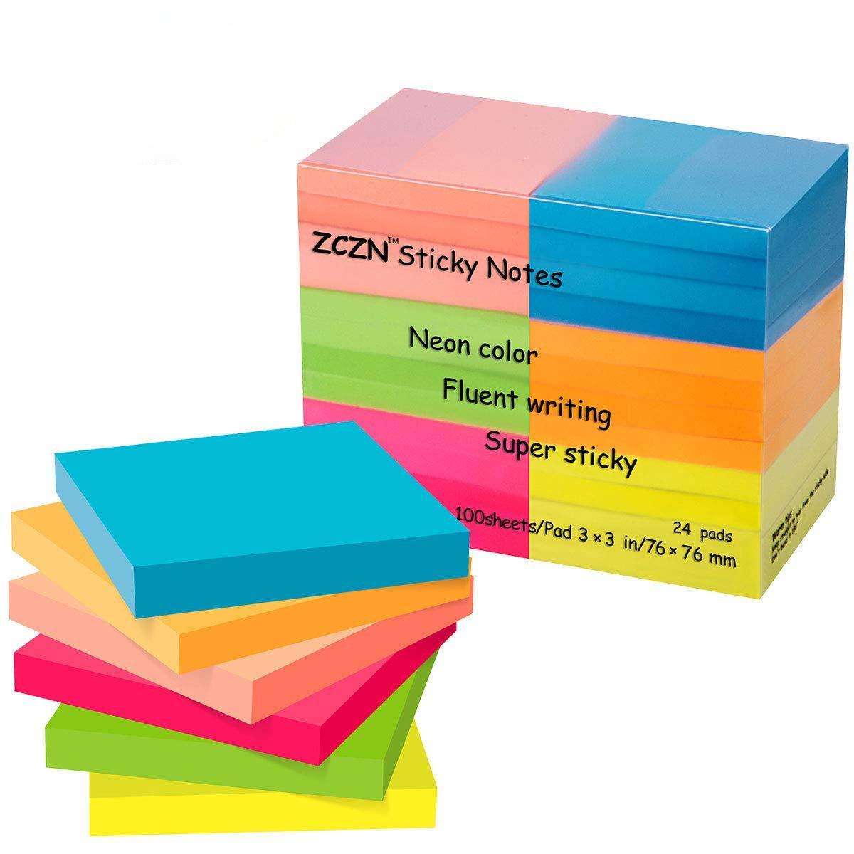 Zczn 6Bright color notes Sticky notes, 3in x 3in confezione da 12pastiglie/100fogli/Pad Sticky questione è migliorato Confezione da 24 Solux