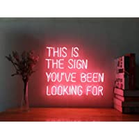This Is The Sign You've Been Looking For Real Glass Neon Sign For Bedroom Garage Bar Man Cave Room Home Decor Personalised Handmade Artwork Visual Art Dimmable Wall Lighting Includes Dimmer