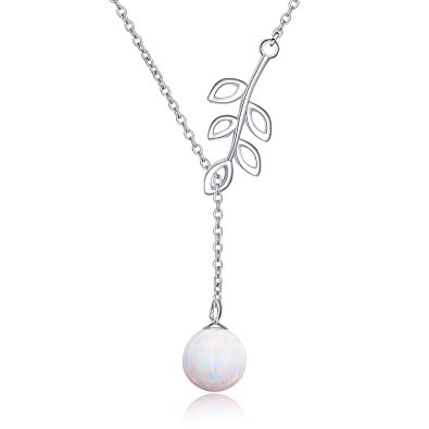 8466acd23153f2 Y Lariat Necklace Sterling Silver Olive Leaf Pearl Opal Drop Pendant  Necklace for Women Lady(