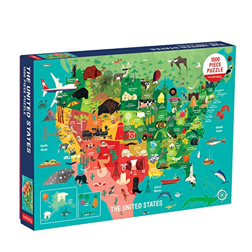 """Mudpuppy United States Puzzle, 1,000 Pieces, 27""""x20"""" - Perfect for Ages 8-99+ - Great Family Puzzle to Enjoy Together - Finished Puzzle Shows Vibrant Illustrations of The Attributes of The 50 States"""