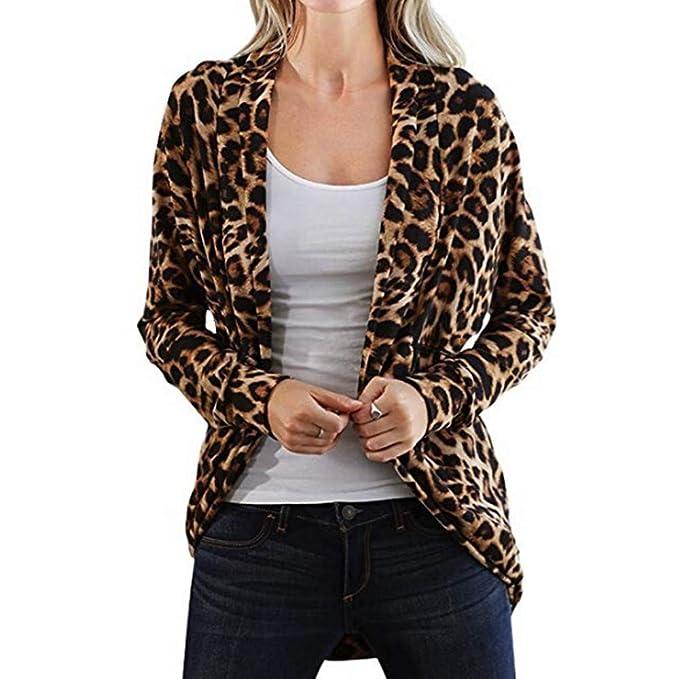 Chaquetas Cárdigans Largas Anchas Deportiva otoño para Mujer, PAOLIAN Chaquetas de Punto Rebajas Estampado Leopardo Ligero Señora Moda Invierno Casaca ...
