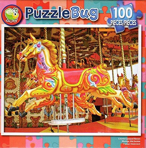 カラフルなCarousel Horses – – – Puzzlebug – 100ピースジグソーパズル B079TBMZWZ B079TBMZWZ, セレクトショップ showcase 芦屋:e79e48ed --- ero-shop-kupidon.ru