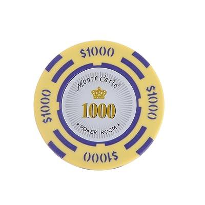 10pcs Jetons de Poker Monte Carlo Etiquette Casino Chips en Argile avec Valeur $1-10000 - 1000, L