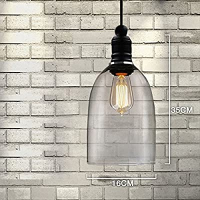 WinSoon Ecopower 1PC 5.9 X 9 Inch Light Vintage Hanging Big Bell Glass Shade Ceiling Lamp Pendent Fixture
