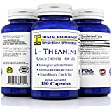 Mental Refreshment: L-Theanine, 400mg 180 Capsules - #1 Maximum Strength