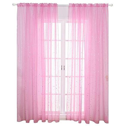 Amazoncom Wubodti Kid Girls Room Window Sheer Pink Curtain Panel