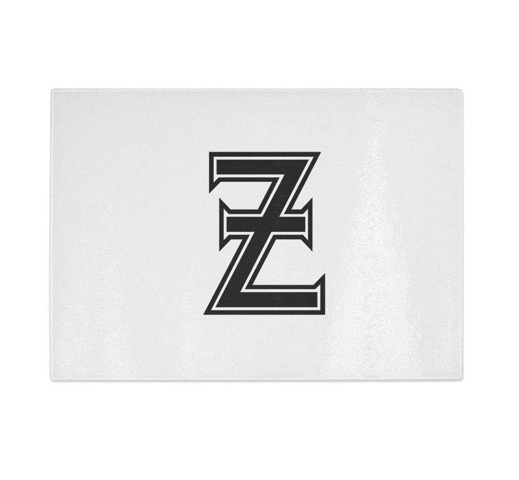 ''Z'' College Font Initial Monogram Letter Z Kitchen Bar Glass Cutting Board - 11 in x 16 in