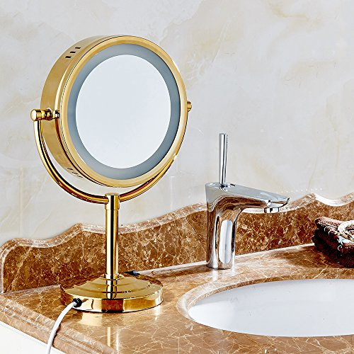 Cavoli 8.5 inch LED Makeup Mirror with 7x Magnification,Extendable Bathroom Mirror,Tabletop Two-sided,Gold Finish(8.5in,7x) by Cavoli (Image #2)