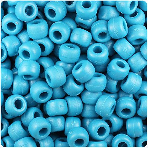 - BeadTin Dark Turquoise Matte 9mm Barrel Pony Beads (500pcs)