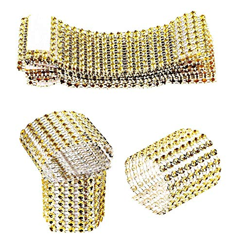 Jingyi E-commerce 120 Pcs Eight Rows Rhinestone Napkin Rings Napkin Mesh Wedding Adornment, Napkin Holder for DIY Party Banquet Birthday (Glod) ()
