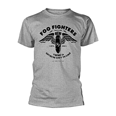 97a8b9c8 Official T Shirt Foo Fighters Concrete and Gold Stencil Grey: Amazon.co.uk:  Clothing