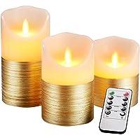 AnnSpa 3 Set Oro Velas de LED sin Pilares de pilas Llama con Control Remoto, de Cera Real Parpadeo Mecha móvil Parpadeo…