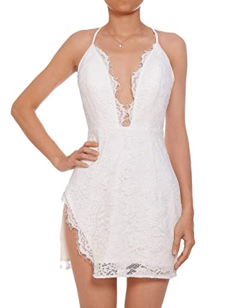 f56d8a8d97c2 Lomantise Lace-Mini-Dress Backless for Party Night-Out, Plunge V ...