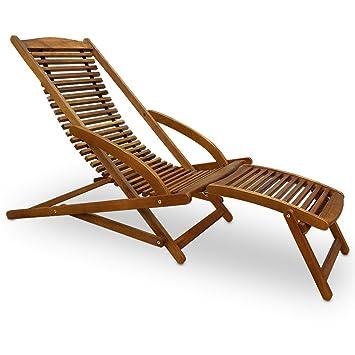 Chaise longue en bois dur dacacia inclinable pour jardin terrasse avec coussin de tête