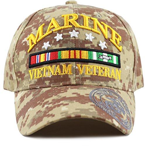 THE HAT DEPOT 1100 Official Licensed 3D Vietnam Veteran Ribbon Logo Cap (Desert -