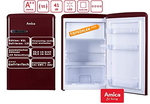 Amica KS15611R nevera y congelador Independiente Rojo A++ ...