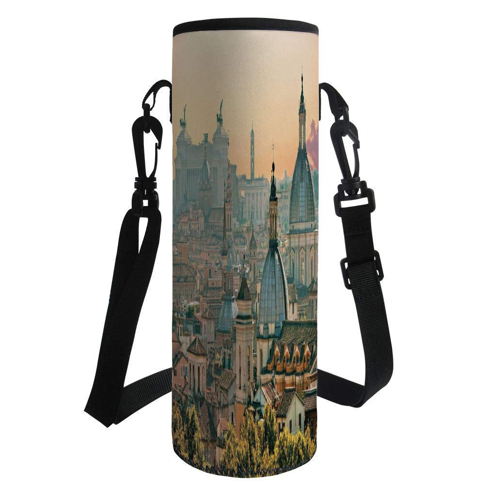 iPrint Water Bottle Sleeve Neoprene Bottle Cover,City,View of Rome from Castel SantAngelo Italy Historical Landmark Vatican,Pale Salmon Ivory Green,Fit for Most of Water Bottles