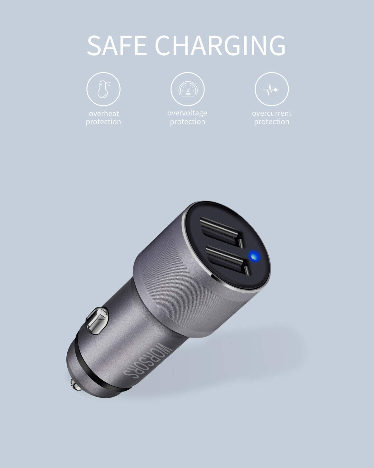 iPad//Mini//Air Worsors Metal Car Charger with 3.3ft Braided Cable Cord Dual USB 4.8A//24W Fast Charging Car Adapter Compatible for Apple iPhone 11//Pro//Max//XS//XR//X//SE 2020//8 Plus//8//7//6S//6//SE//5S//5C