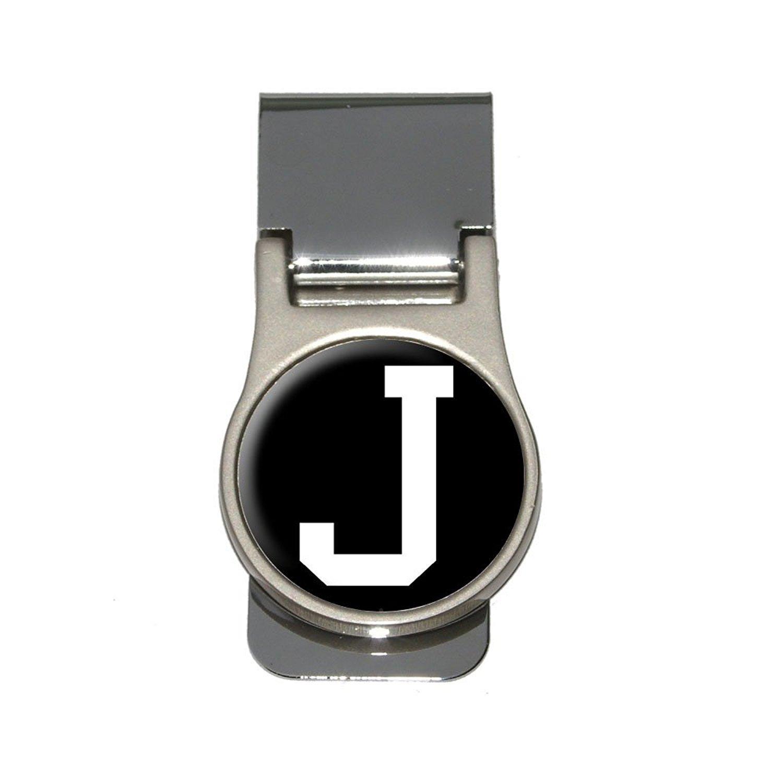 Letter J Initial Black White Money Clip