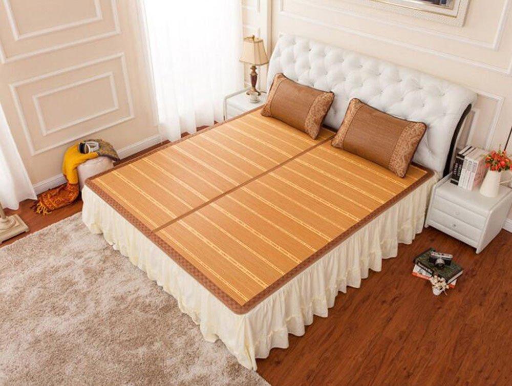 Sommerbettmatte Bambusmatten Matten gefaltete doppelseitige Matten doppelte Bambusmatten dreiteilig mit Kopfstütze 1,8  2,2m Bett (größe : 1.8  2.2m Bed)