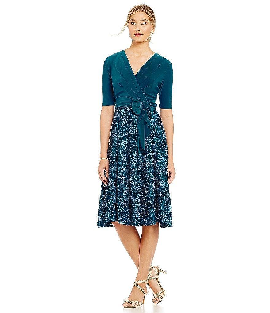 29a92a7d02 Alex Evenings Petite Tea-Length Rosette Skirt Party Dress Size 6P at Amazon  Women s Clothing store